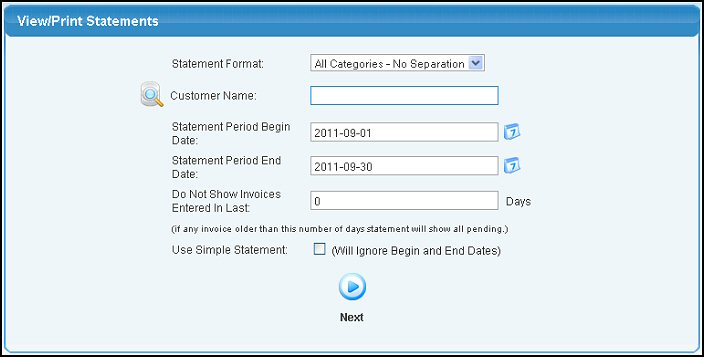 statement format select the format you want to use from the pull down list if you are doing a simple statement these will not be used